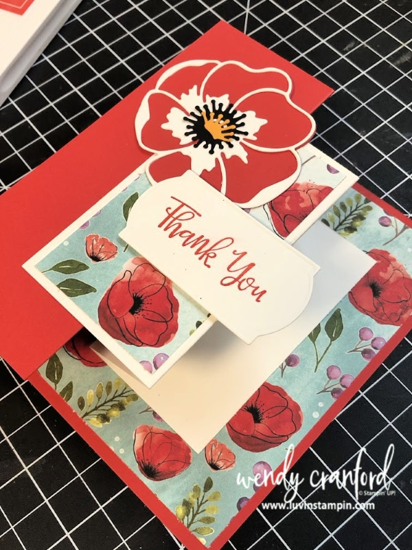 Double Z Fun Fold card featuring the Stampin' UP! Painted Poppies bundle from the Stampin' UP 2020 Mini Catalog #luvinstampin #stampinup #paintedpoppies