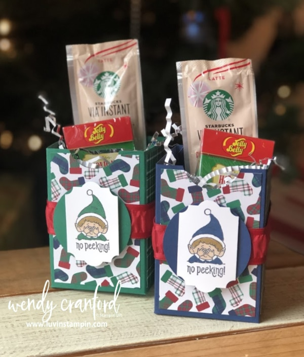 How to make a imple handmade gift box for Christmas  #luvinstampin #stampinup #elfie #christmas #giftbox