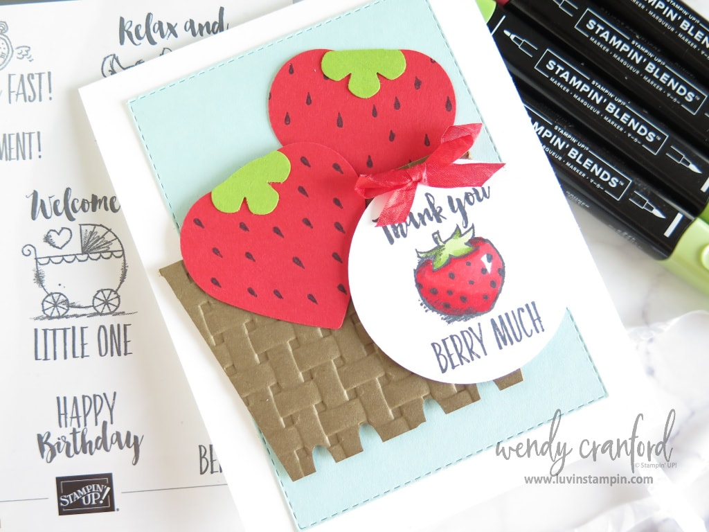 Thank you card using punch art to make strawberry.