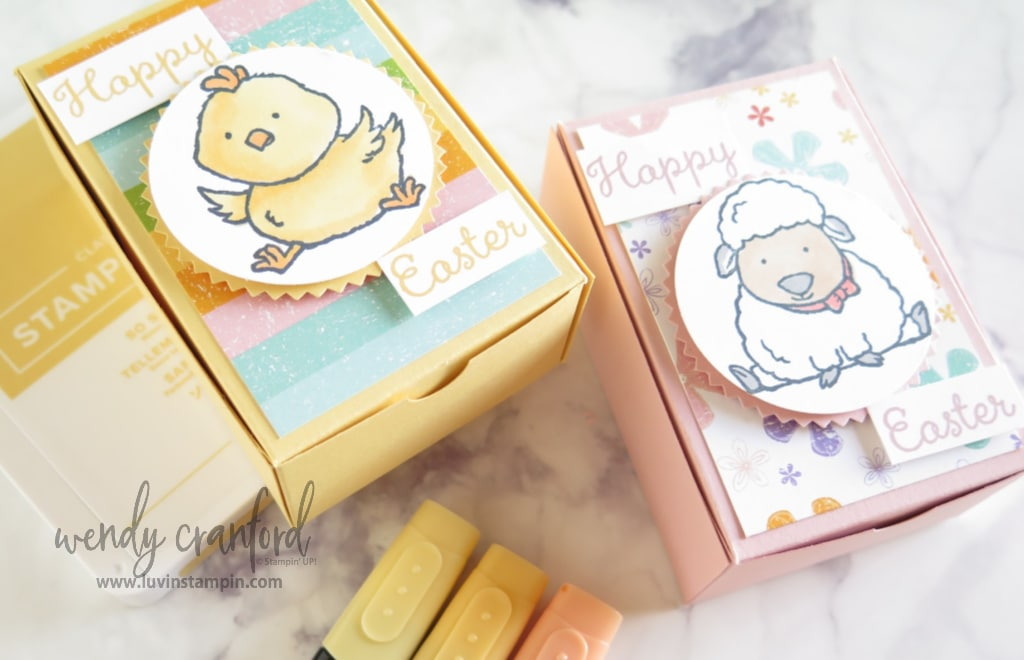 Simple easter gift box made using Stampin' UP! tools and stamp sets