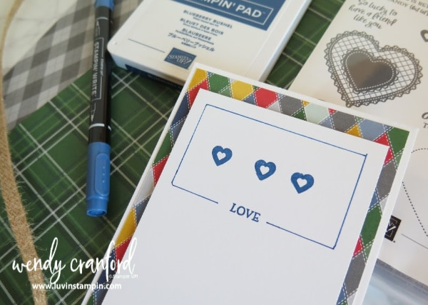 Create a masculine valentines card featuring the Heartfelt stamp set #valentinescard #stampinup