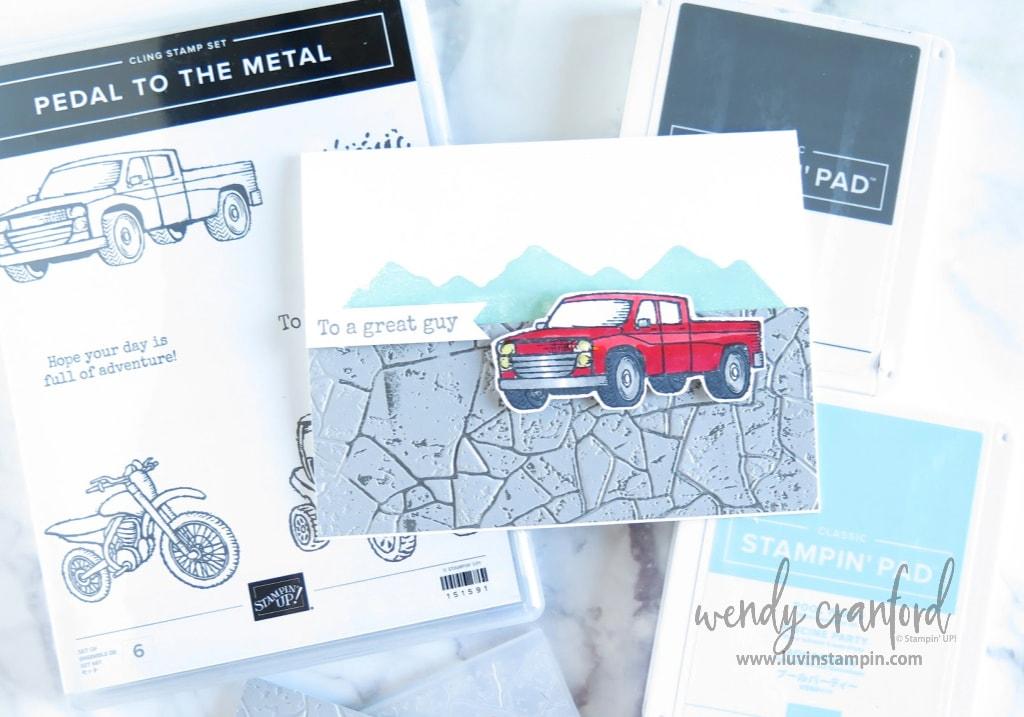 Masculine card featuring Pedal to the Metal stamp set from Stampin' UP!