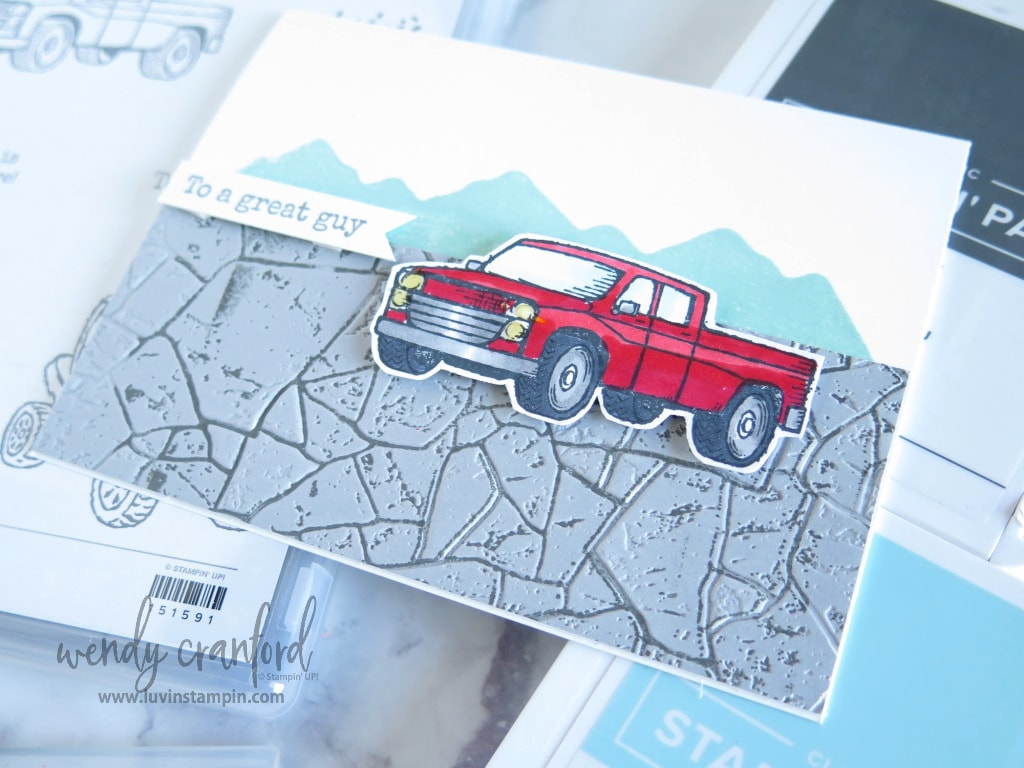 Idea for creating simple mountain background using the Mountain Air stamp set from Stampin' UP!