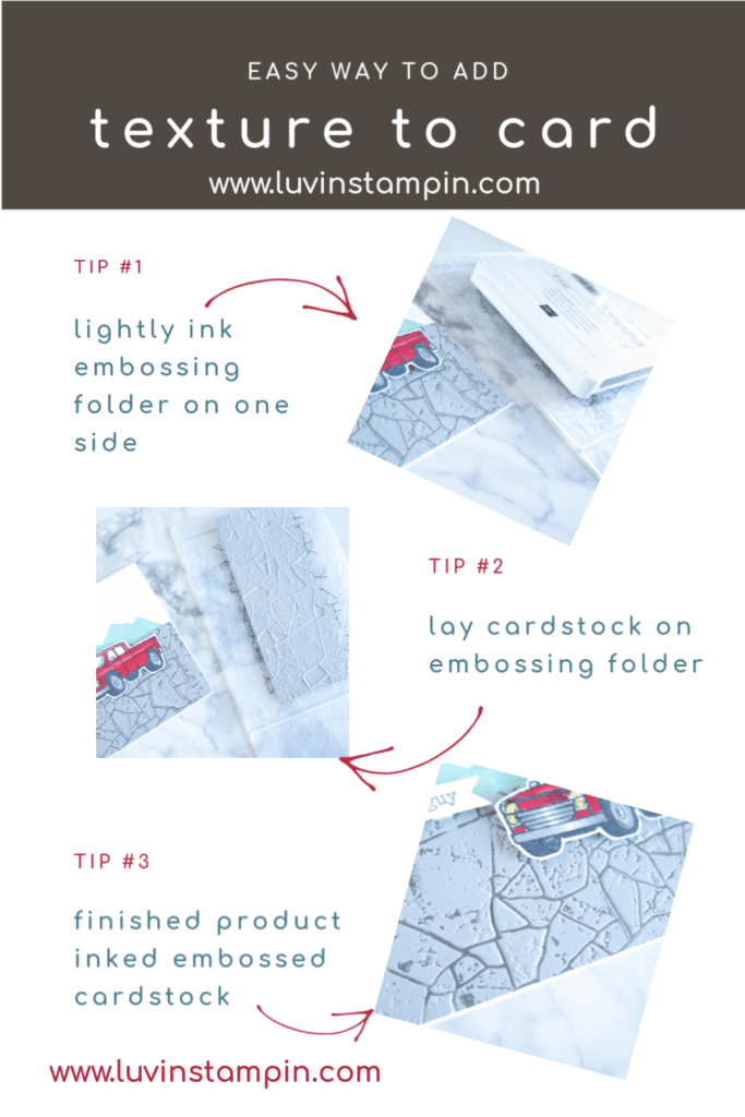 Tip tutorial on how to use embossing folder with ink to create extra depth and texture on cardstock.