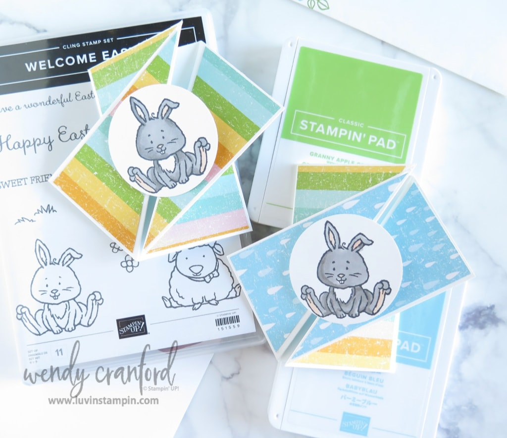 Twisted gate fold card featuring the Welcome Easter stamp set from Stampin' UP!