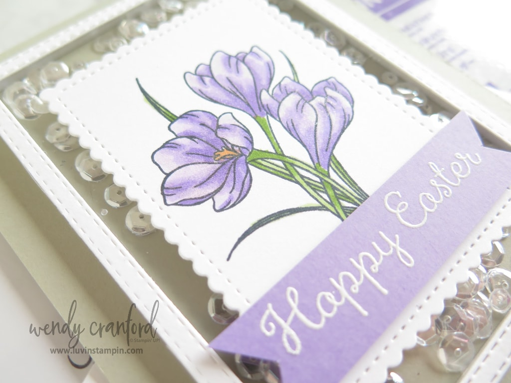 Easter shaker card made with Whisper White thick cardstock and Sahara Sand cardstock.