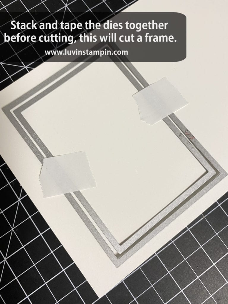 Use two dies together with tape to cut and get a frame piece for a shaker card.