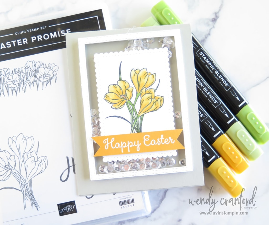 Easter promise shaker card with yellow flowers