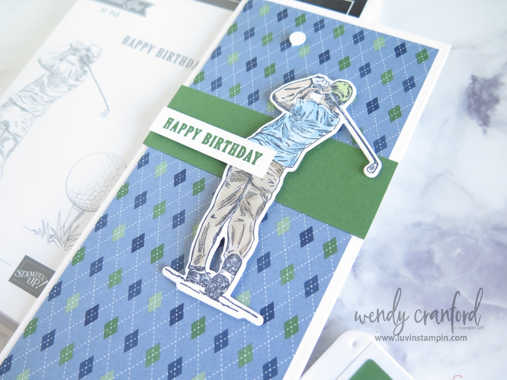 Argyle print brings this card to life and gives it the perfect golfing feel.