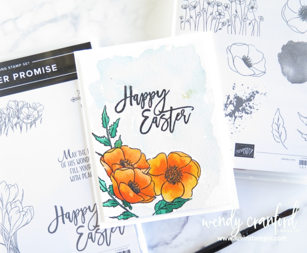 Painted Poppy Easter watercolor card featuring heat embossing and masking techniques.