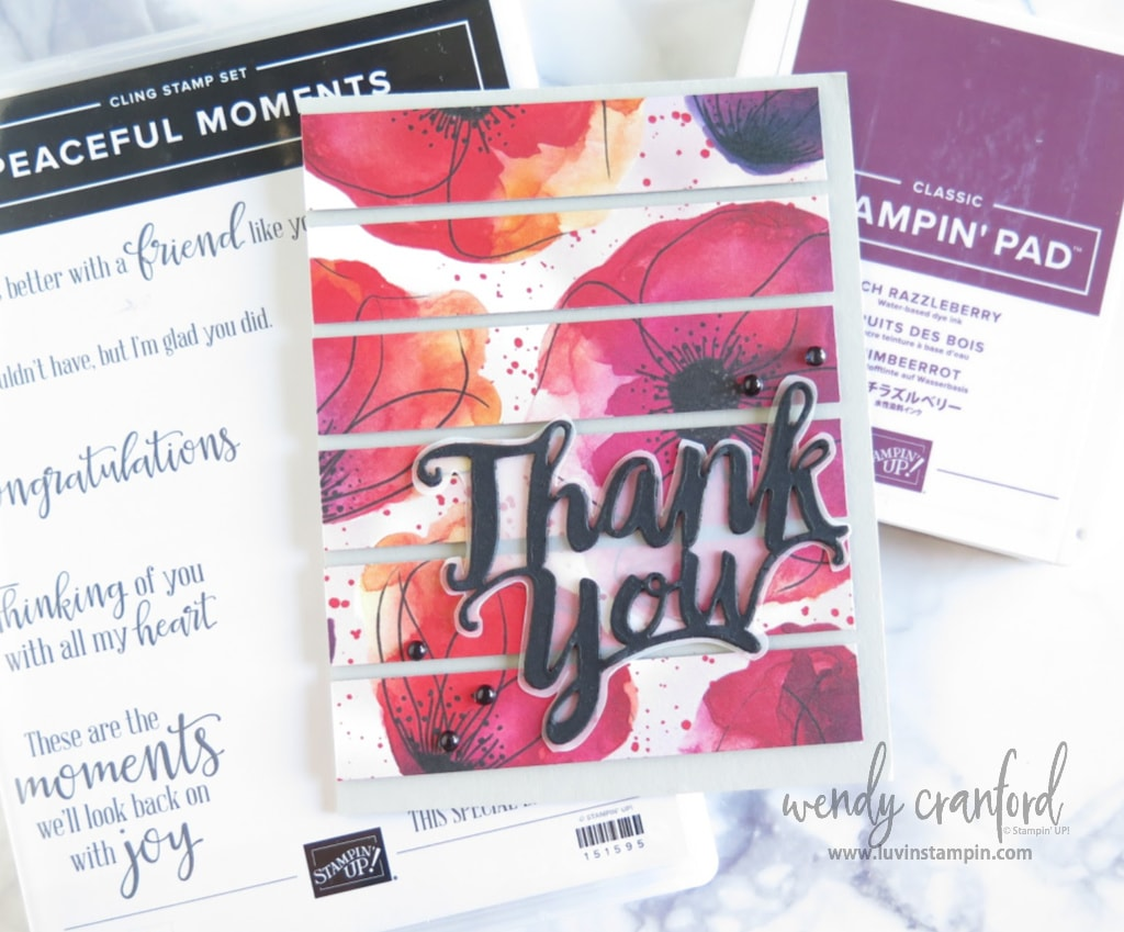 Fun thank you card featuring pattern paper cut into strips.