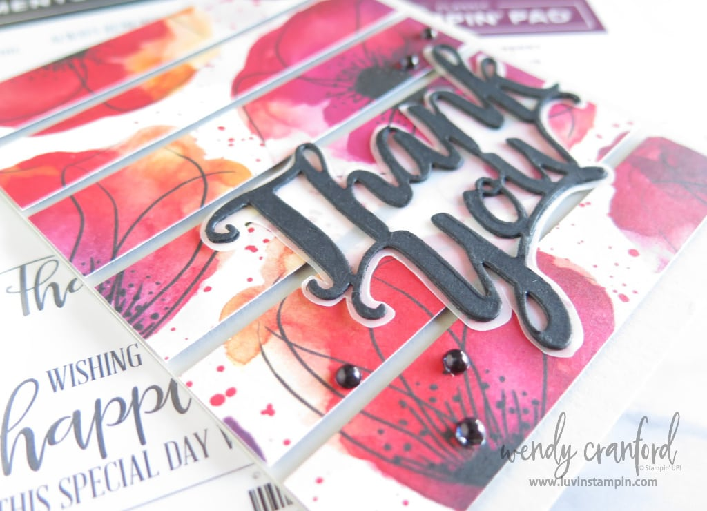 Thank you die cut from Stampin' UP! makes a great embellishment for any card.