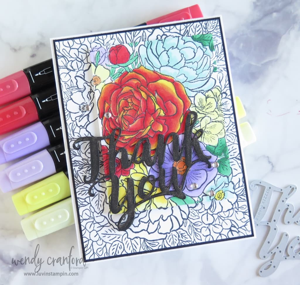 Beautiful card made using the spotlight stamping technique