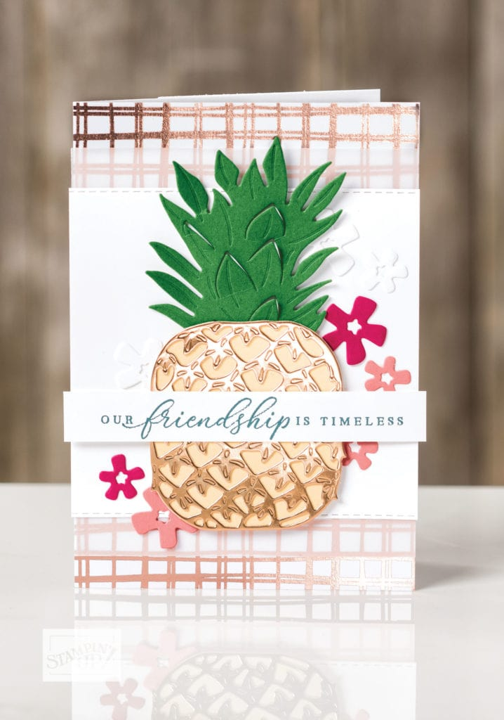 Beautiful pineapple card created by Stampin' UP! concept artist.
