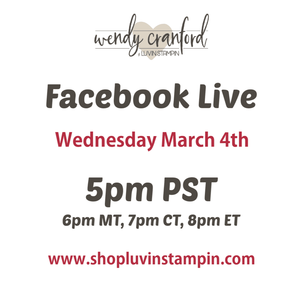 Facebook live with Wendy on Wednesdays