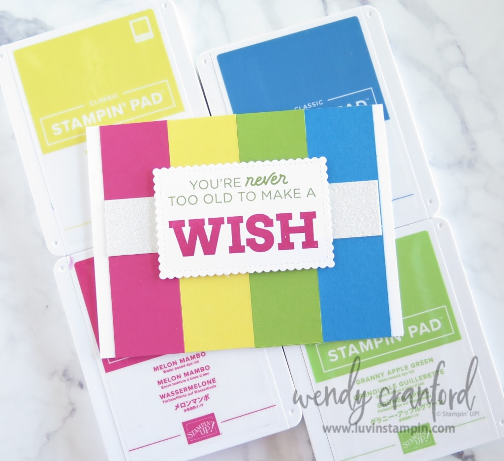 Bright handmade birthday card for Luvly Stamper team members