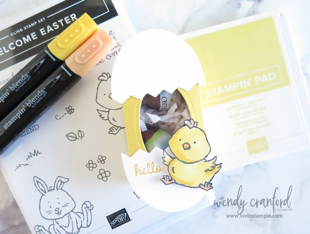 Create a cute baby chick easter treat box with Stampin' UP! cardstocks.