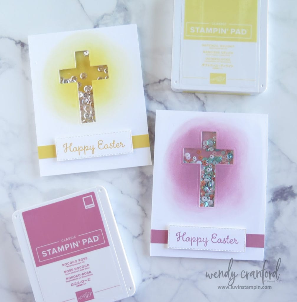 Easter cross shaker card idea featuring Rococo Rose ink and Daffodil Delight ink