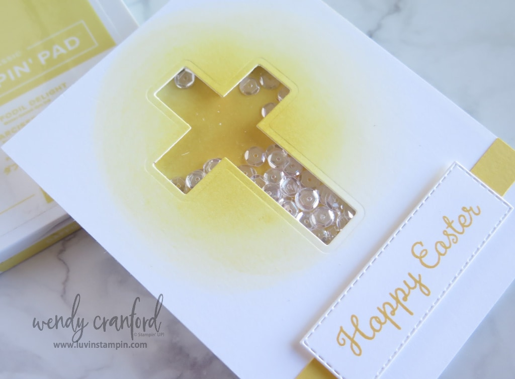 Easter cross shaker card featuring the Hold On To Hope stamp set and Welcome Easter stamp set