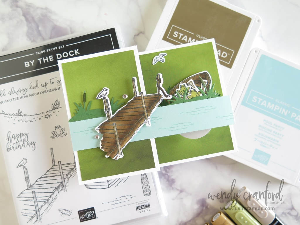 Create a great fun fold scene card with the By The Dock bundle from Stampin' UP!