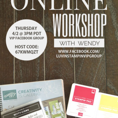 Join Me For Online Live Workshop