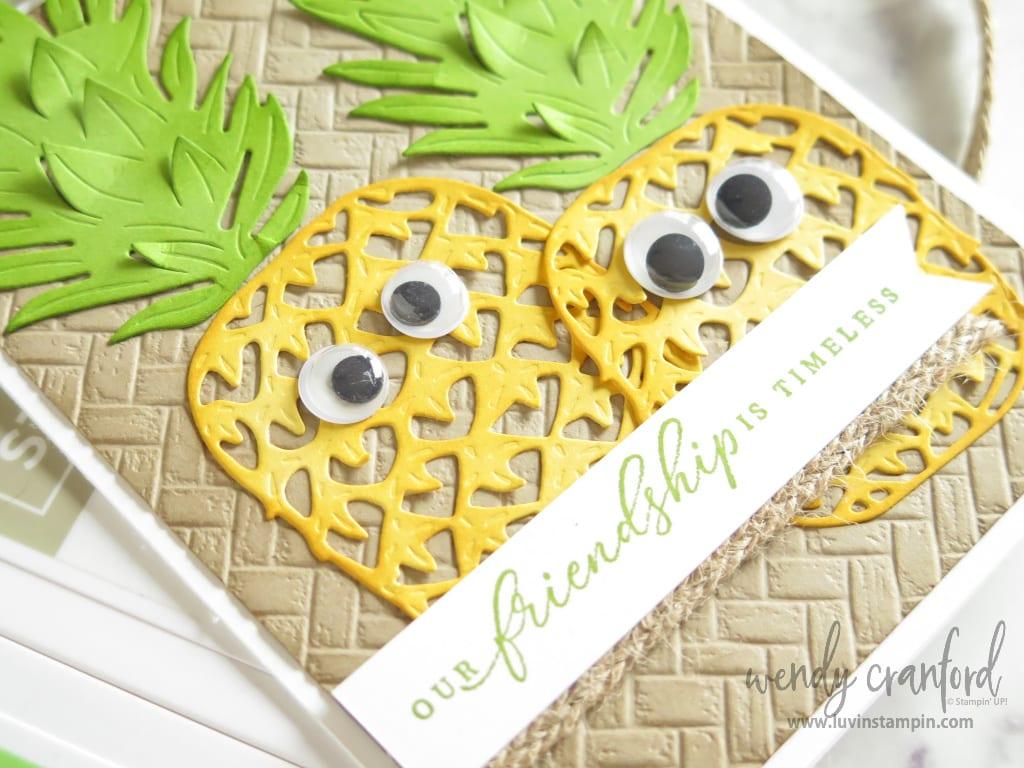 Cute pineapple google eyes on cute card.