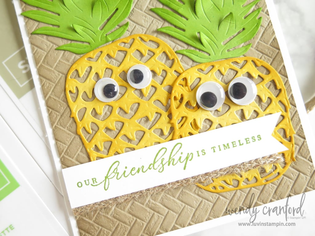 Friendship card with Pineapple friends.