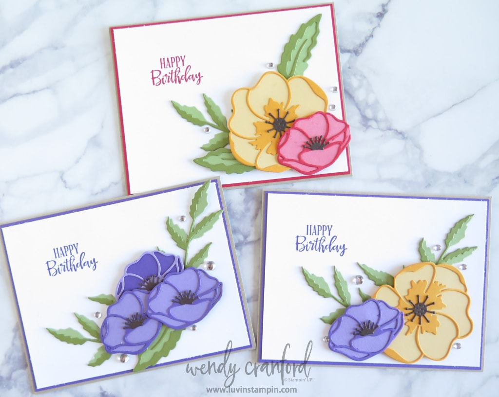 Use different Stampin UP! color combination to create different poppy cards.