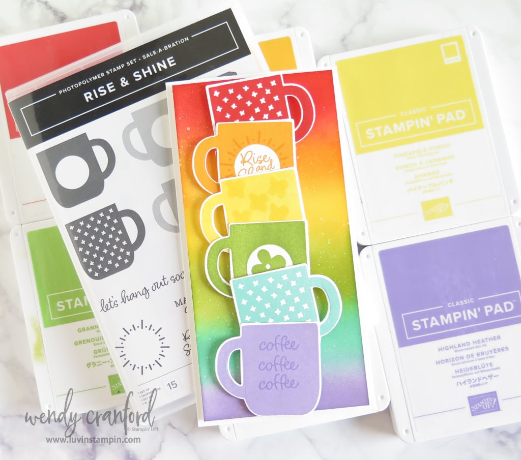 An extra tall card with rainbow colors and the Stampin' UP! Rise & Shine stamp set