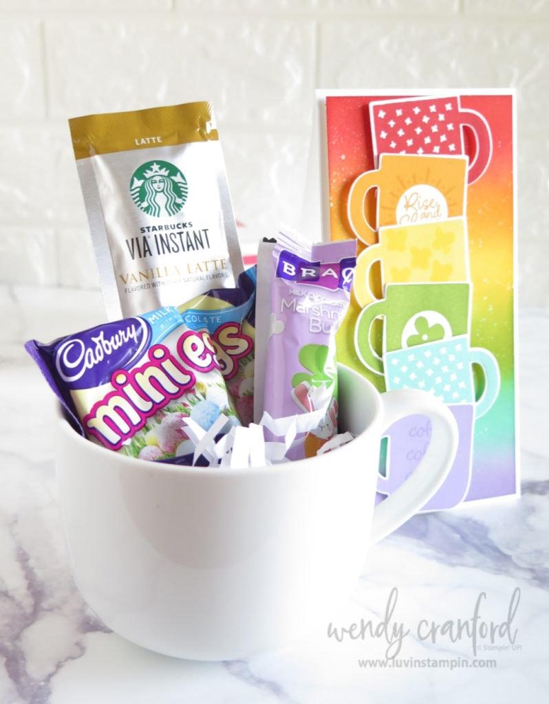 Gift coffee mug with handmade card.