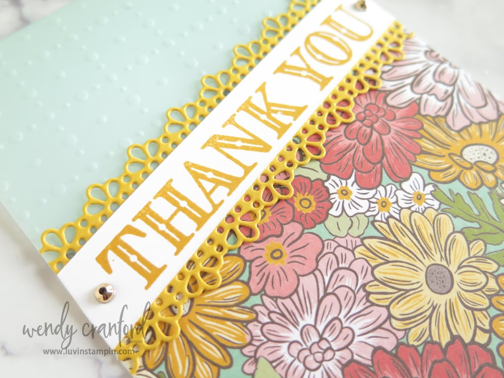 Thank you card created using Stampin' UP! Ornate Garden Suite and Sale A Bration vellum