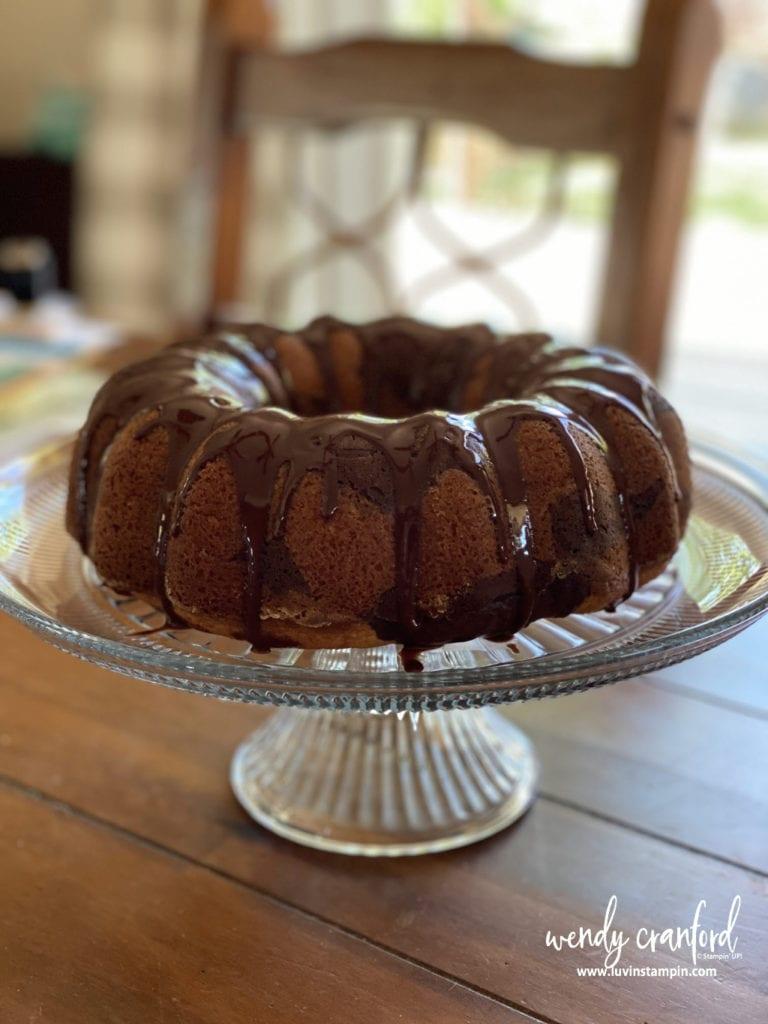 A beautiful peanut butter and chocolate swirl bundt cake.