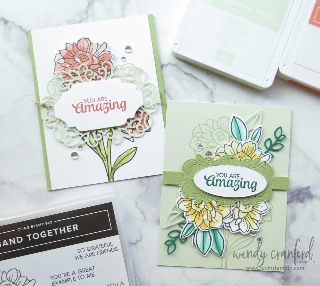 Stampin' UP! Catalog CASE'd cards using Band Together Bundle.