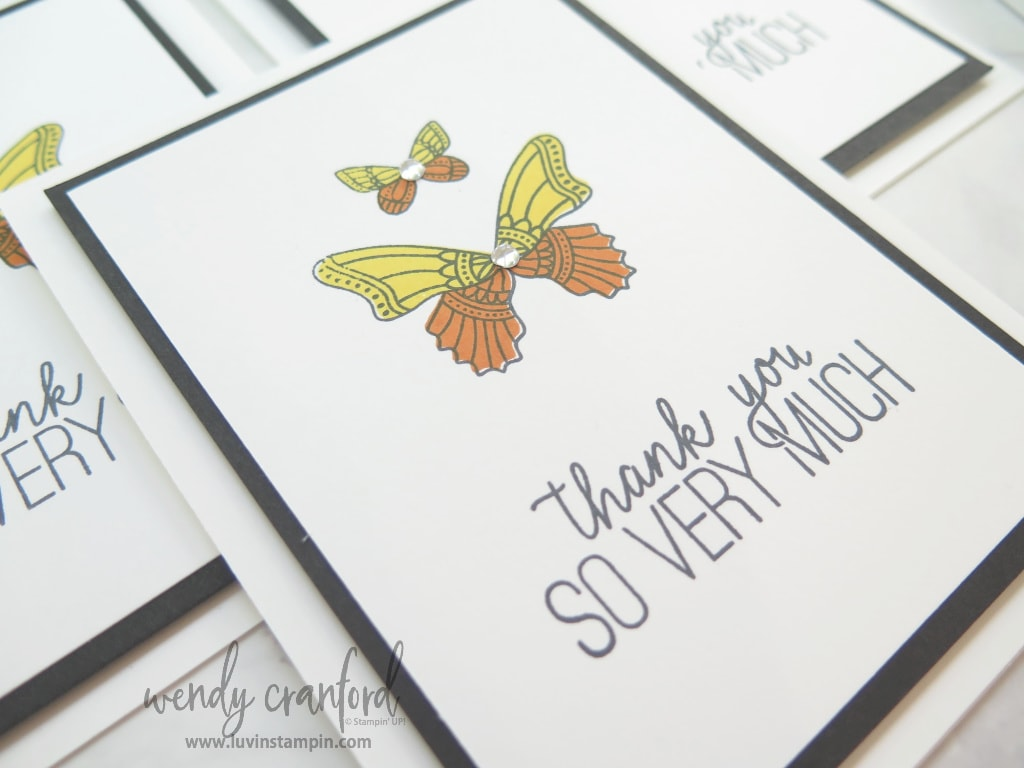 close up of butterfly thank you card for healthcare workers and friends.