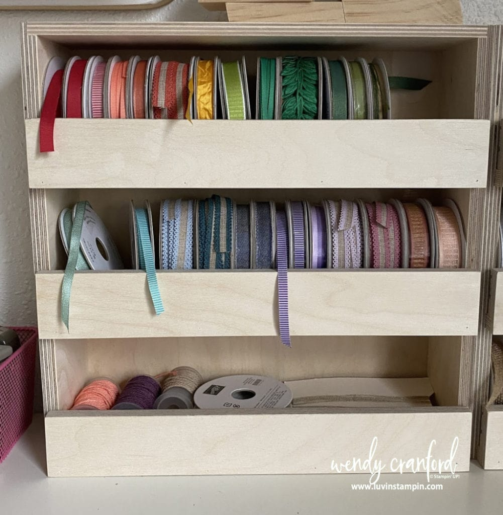 Beautiful storage for ribbon from Stamp N Storage