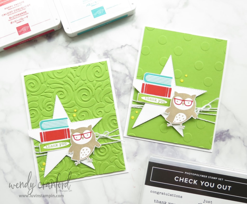 Create fun thank you cards for teachers using the Check You Out stamp set from Stampin' UP!