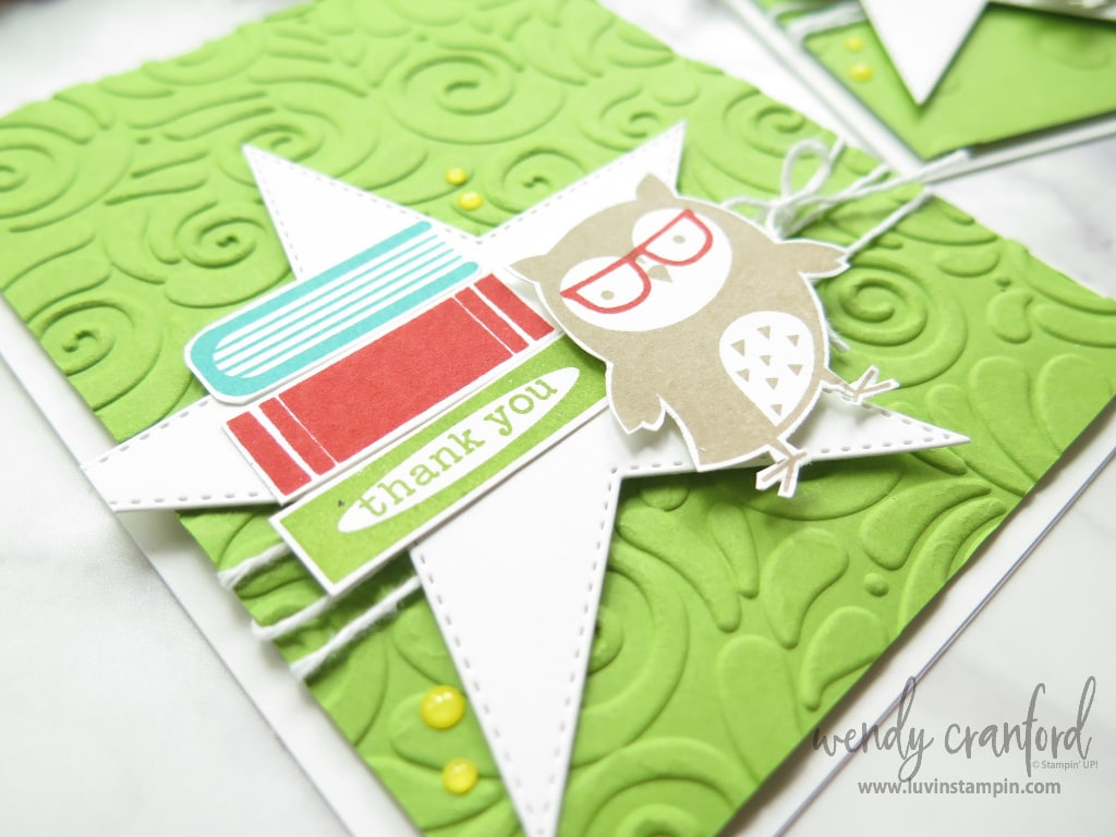 The Swirls & Curls embossing folder and the Check You Out stamp set are great for Thank You Cards
