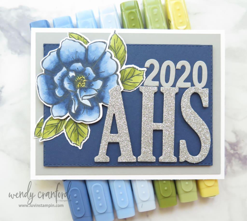 Blue rose colored using Stampin Blends for senior graduation cards
