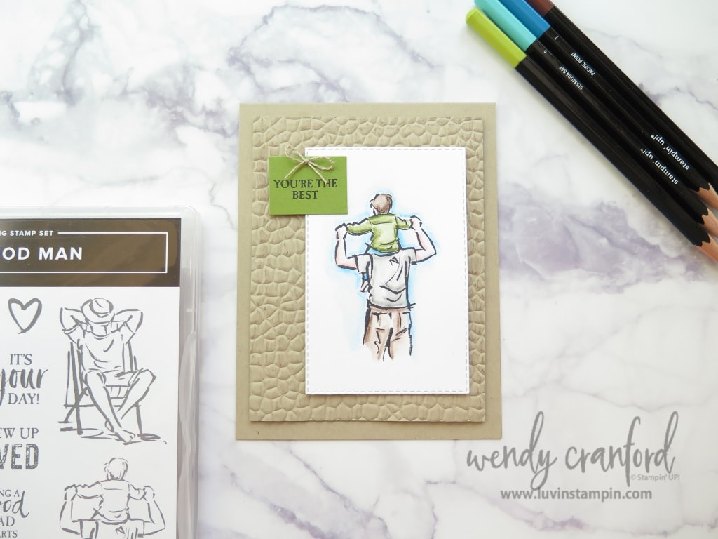 A good man card created with Watercolor pencils