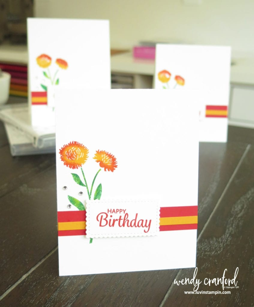 Field of Flowers bundle from Stampin' UP! is perfect for the Rock N Roll technique.