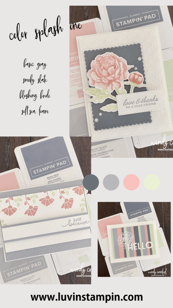 Color Splash One featuring Blushing Bride, Soft Sea Foam, Basic Gray and Smoky Slate