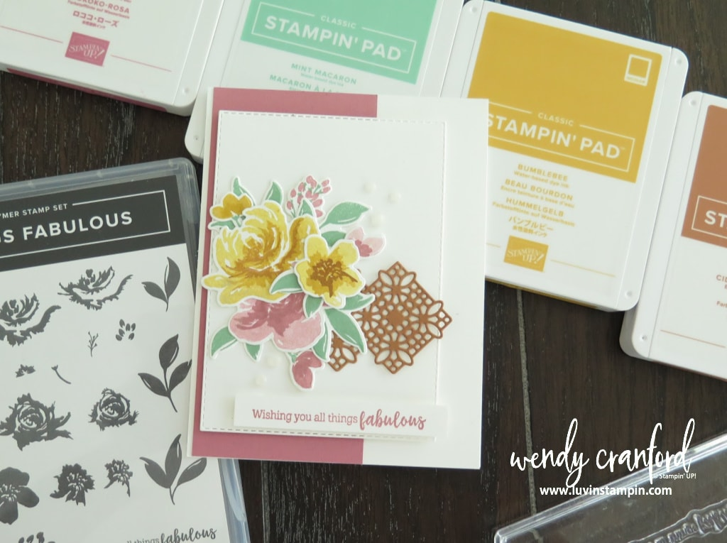 All Thing Fabulous from Stampin' UP! using Rococo Rose, Mint Macaron, Bumblebee and Cinnamon Cider