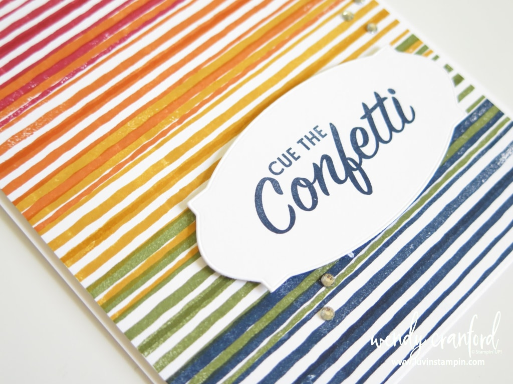 Rainbow color card using Stampin' UP! ink and Stamparatus