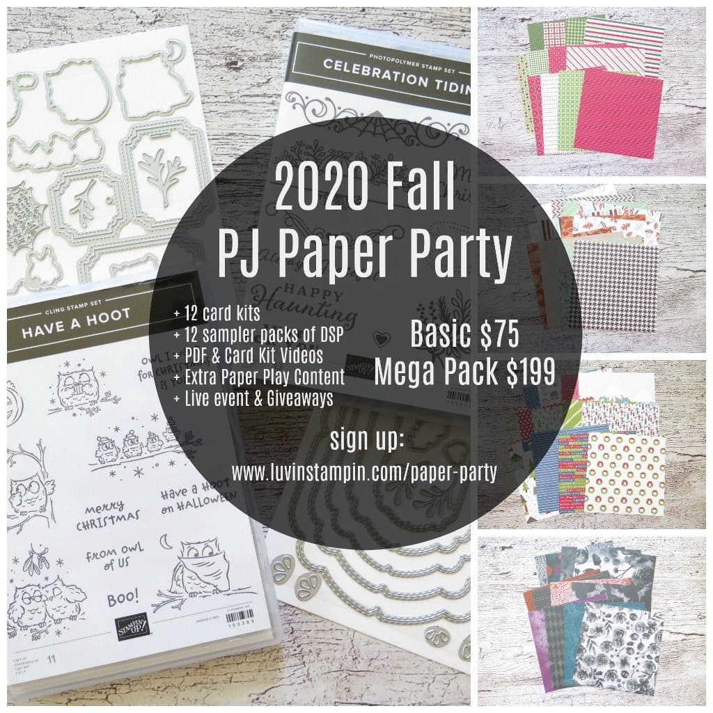2020 Fall PJ Paper Party sign up at www.luvinstampin.com/paper-party