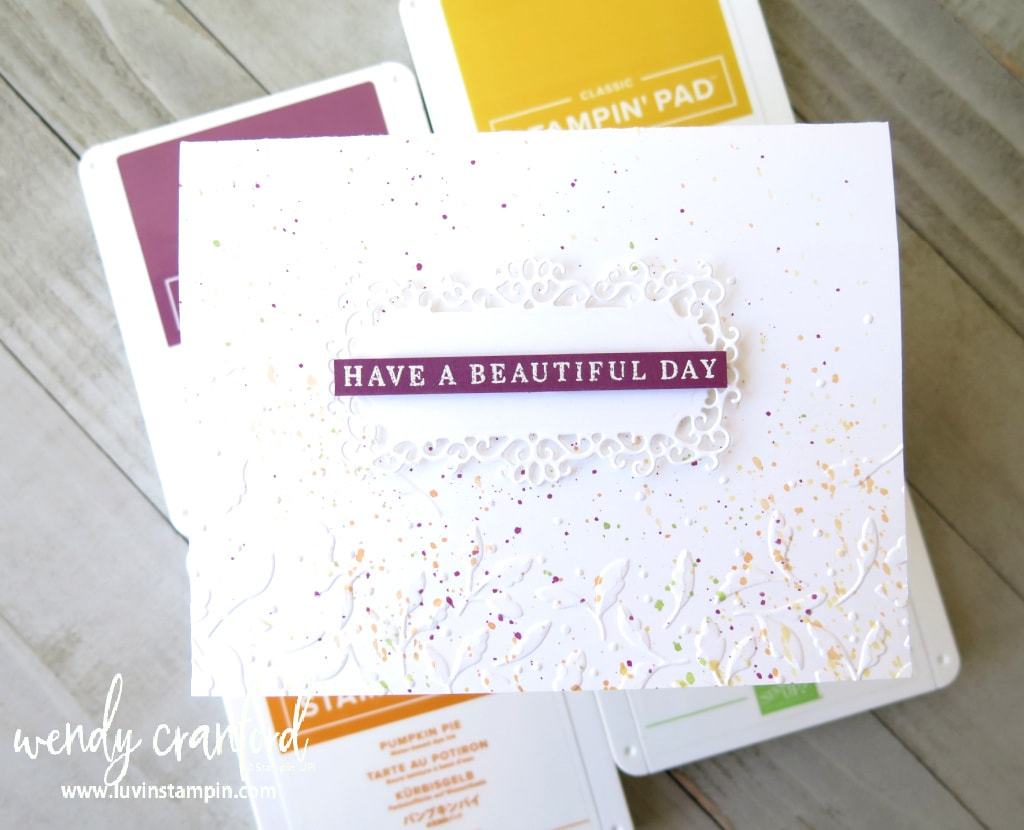 Simple and elegant speckled card using splatter technique