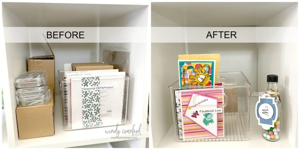 IKEA Kallax unit used for storing Stampin' UP! supplies