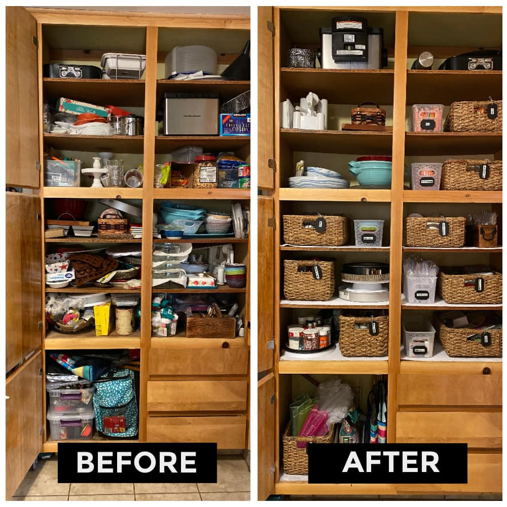 Organize your cabinets using baskets and get help from Sarah Randall at 30 Day Reset.
