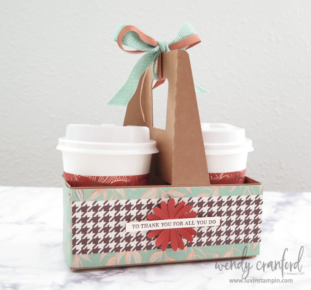 Coffee and candy thank you gift for helpers using Stampin' UP! Gilded Autumn Designer Series Paper