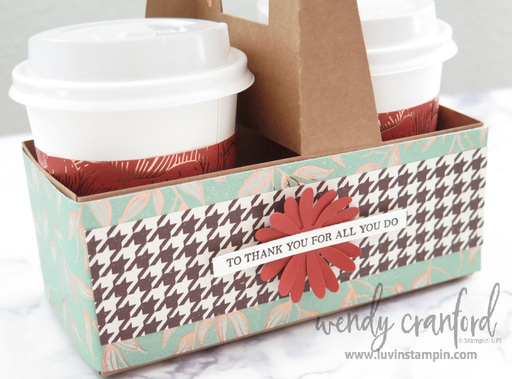 Thank you gift for helpers, mini coffee cup carrier.