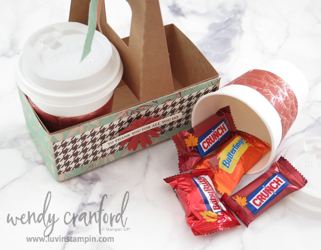 Mini coffee carrier and cups for candy and gift card.